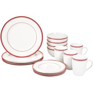AmazonBasics Cafe Stripe 16-Piece Porcelain Dinnerware Set for $34