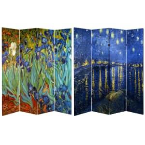 Oriental Furniture Van Gogh Reversible 6-Foot 4-Panel Room Divider for $124