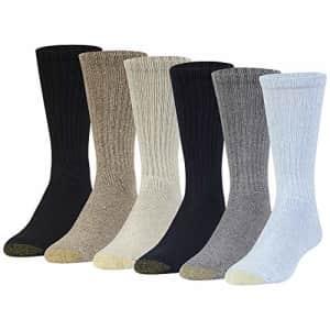 Gold Toe Men's Harrington Crew Socks, Multipairs, Washed Blue/Light (6-Pairs), Large for $15