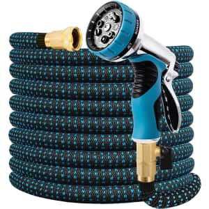 Double Couple 75-Ft. Expandable Water Hose with Nozzle for $18