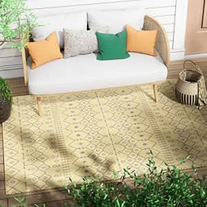 """Well Woven Nors Yellow Indoor/Outdoor Flat Weave Pile Nordic Lattice Pattern Area Rug 5x7 (5'3"""" x for $44"""