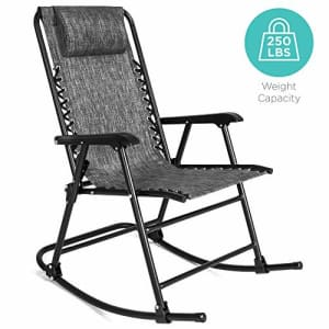 Best Choice Products Foldable Zero Gravity Rocking Patio Recliner Chair Gray for $80