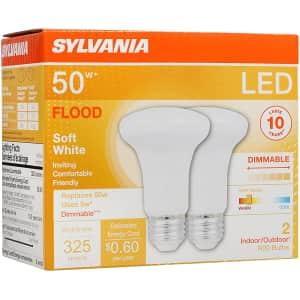 Sylvania LED Flood R20 Light Bulb 2-Pack for $10