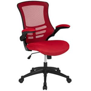 Flash Furniture Mid-Back Red Mesh Swivel Ergonomic Task Office Chair with Flip-Up Arms for $146