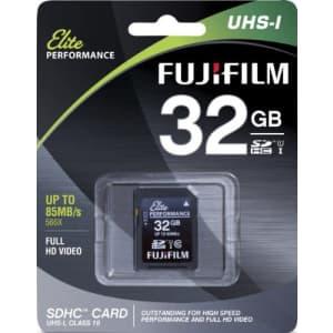 Fujifilm Elite 32GB SDHC Class 10 UHS-1 Flash Memory Card 600x / 90MB/s for $9