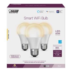 Feit Electric A19 E26 (Medium) LED Smart WiFi Bulb Soft White 60 Watt Equivalence 3-Pack for $20
