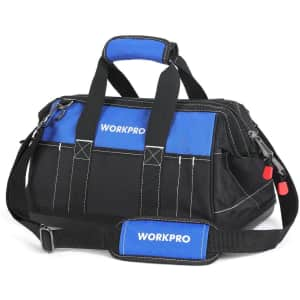 """WorkPro 16"""" Wide Mouth Tool Bag w/ Waterproof Base for $23"""