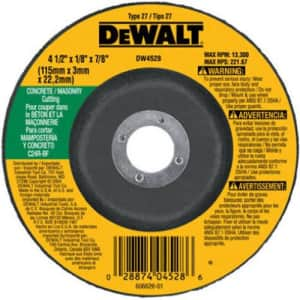 """DeWalt 4.5"""" Concrete/Masonry Cutting Wheel for $2"""