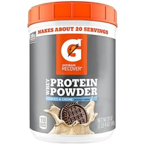 Gatorade Whey Protein Powder, Cookies & Crme, 22.4 Ounce (20 servings per canister, 20 grams of for $50