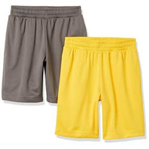 Amazon Essentials Boys Active Performance Mesh Basketball Gym Shorts, 2-Pack Charcoal/Gold, 4T for $17