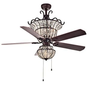 Warehouse of Tiffany CFL-8154BR Charla 4-Light Crystal 52-inch Chandelier Ceiling Fan, Red for $386