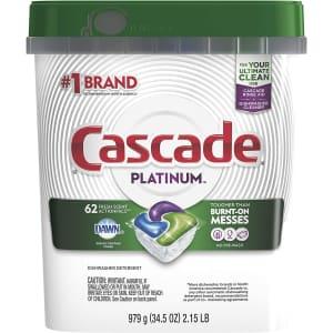 Cascade Platinum ActionPacs Dishwasher Detergent 62-Ct. Tub for $17