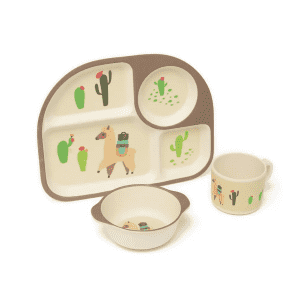 Lila and Jack Brown Llama and Cactus 3-Piece Kids Dinner Set for $5