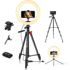 """Yesker 10"""" LED Ring Light with Tripod for $15"""