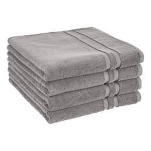 AmazonBasics GOTS Certified Organic Cotton Bath Towel - 4-Pack, Stone Gray for $40