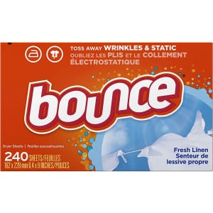 Bounce Fresh Linen Scented Fabric Softener Dryer Sheets 240-Pack for $5.90 via Sub & Save