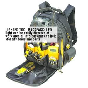 Custom LeatherCraft DEWALT DGL523 Lighted Tool Backpack Bag, 57-Pockets for $95