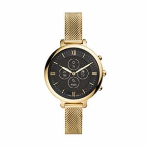 Fossil Women's Monroe Stainless Steel Mesh Hybrid HR Smartwatch, Color: Gold (Model: FTW7038) for $215