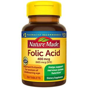 Nature Made Folic Acid 400 mcg (665 mcg DFE) Tablets, 250 Count (Pack of 3) for $7