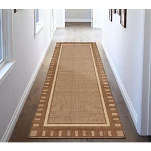 "Ottomanson Jardin Indoor/Outdoor Bordered Runner Rug, Brown, 2'7""X7', 2'7"" x 7' for $49"