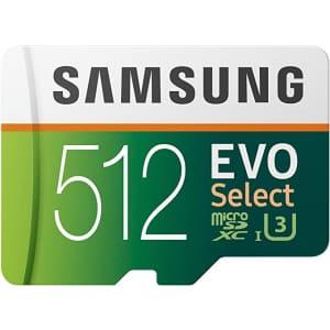 Samsung 512GB EVO Select UHS-I U3 microSDXC Card for $55