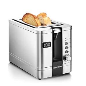 Chefman 2-Slice Digital Toaster, Pop-Up, Stainless Steel, Extra-Wide Slots For Bagels, Defrost, for $63