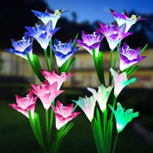 Miagi Color-Changing Solar Flower Stake Lights from $14