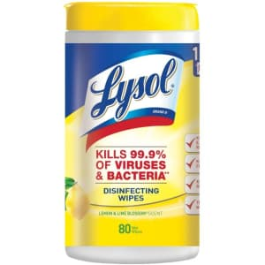 Lysol 80-Count Disinfecting Wipes for $4