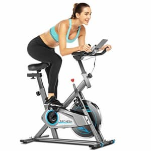 ANCHEER Stationary Exercise Bike, Indoor Cycling Bike Belt Drive with APP Connection, Adjustable for $250