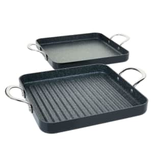 Refurb Curtis Stone Dura-Pan Nonstick Square Grill Pan and Griddle Pan for $45