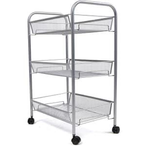 Mind Reader 3-Shelf Metal Mesh Rolling Cart for $24