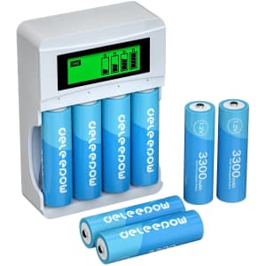 Deleepow 3,300mAh Battery Charger with 8 AA Batteries for $15