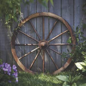 "Char-Log 30"" Fir Wood Wagon Wheel for $28"