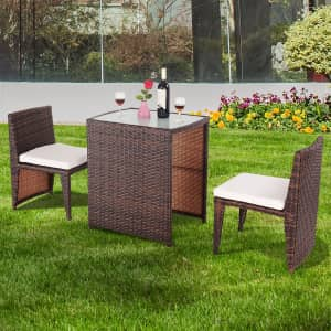 Costway 3-Piece Cushioned Outdoor Wicker Patio Set for $179