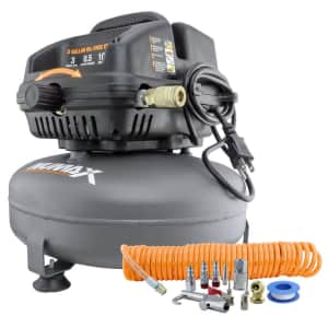 NuMax 3 Gallon Oil-Free Air Compressor w/ Air Hose & 11 piece Inflation Kit for $185