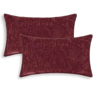 """CaliTime 12"""" x 20"""" Chenille Throw Pillow Cover 2-Pack for $15"""