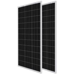 Renogy 100W 12V Monocrystalline Solar Panel 2-Pack for $181