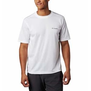 Columbia Men's Meeker Peak Short Sleeve Wicking UPF 15 Crew Shirt, White, 6X for $25