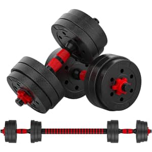 GoXccess Adjustable Dumbbell Weight Set for $54