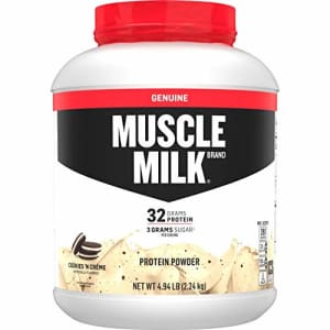 Muscle Milk Genuine Protein Powder, Cookies 'N Crme, 32g Protein, 4.94 Pound, 32 Servings for $48