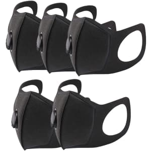 Docona Reusable Face Mask with Valve 5-Pack for $7