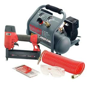 SENCO PC1343 18 Gauge Finish Nailer and 1/2 HP 1 Gallon Hand Carry Air Compressor Combo Kit for $316