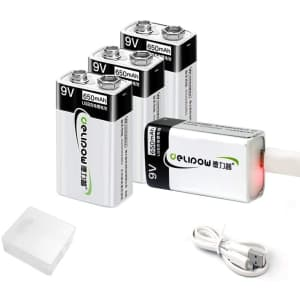 Delipow 9V 650mAh USB Rechargeable Battery 4-Pack for $14