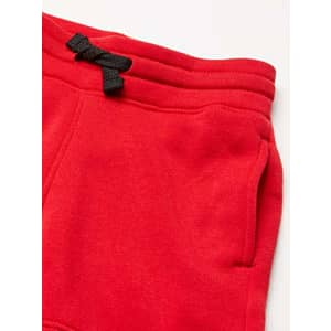 Southpole - Kids Boys' Big Jogger Shorts in Basic Solid Colors and Fleece Fabric, Red Chenille for $12