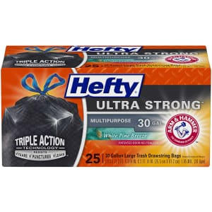 Hefty 30-Gallon Odor Control Trash Bag 25-Pack for $7