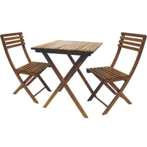 Leigh Country 3-Piece Classic Acasia Wood Folding Bistro Set for $75, padding