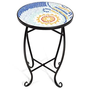 Giantex Mosaic Round Side Accent Table Patio Plant Stand Porch Beach Theme Balcony Back Deck Pool for $55