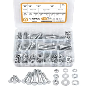 Vigrue 180-Pc. Hex Bolts, Nuts, & Washer Assortment for $14