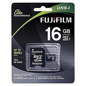 Fujifilm Elite 16GB microSDHC Class 10 UHS-1 Flash Memory Card 600x / 90MB/s for $15