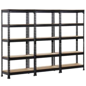 SmileMart 5-Tier Metal Storage Rack 3-Pack for $150